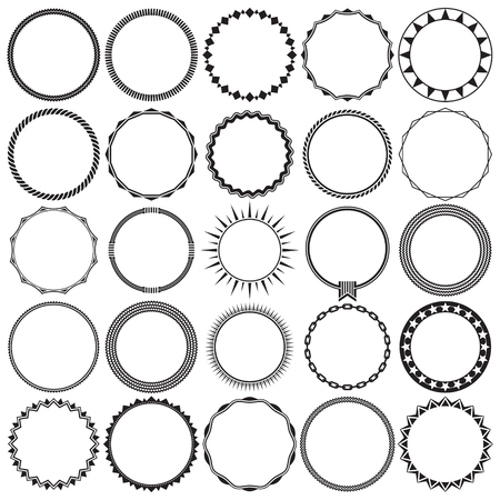 Illustration pour Collection of Round Decorative Border Frames with Clear Background. Ideal for vintage label designs. - image libre de droit