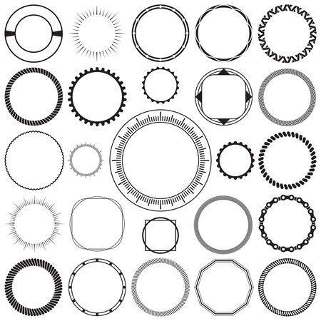 Illustration pour Collection of Round Decorative Ornamental Border Frames with Clear Background. Ideal for vintage label designs. - image libre de droit