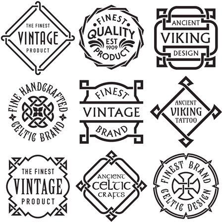 Illustration pour Vector Set of Celtic Knotwork Vintage Labels - image libre de droit