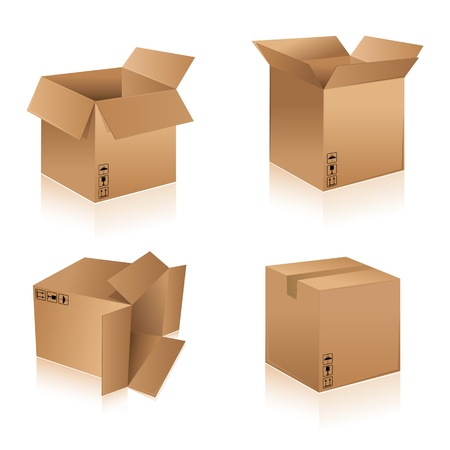 illustration of different shape cardboard boxes on isolated background