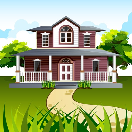 illustration of front view of house in natural background