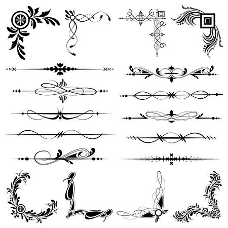 illustration of set of vintage design elements for frames