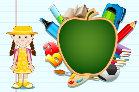 illustration of education item poping out from apple shape black board with student standing