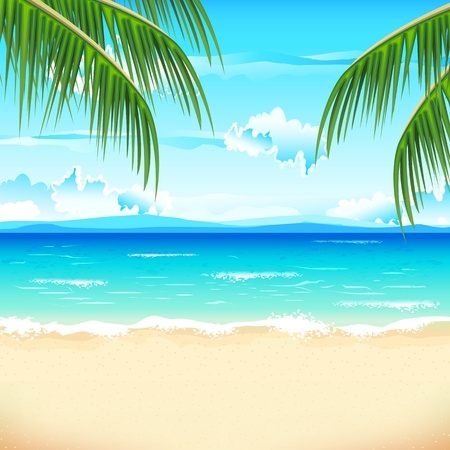 illustration of sea beach with palm tree