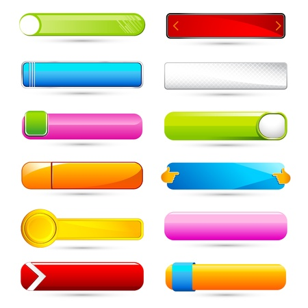 illustration of set of colorful glossy button on white background