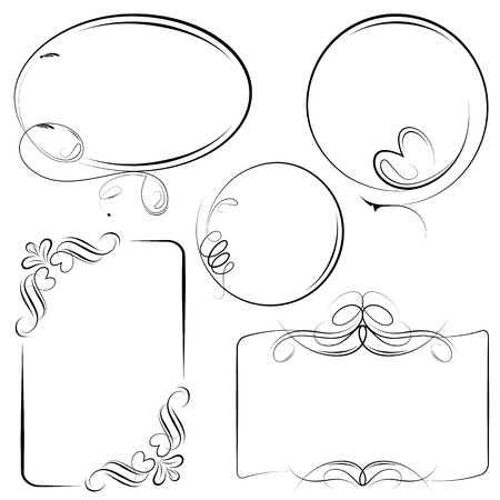 illustration of vintage style floral frame in different shape