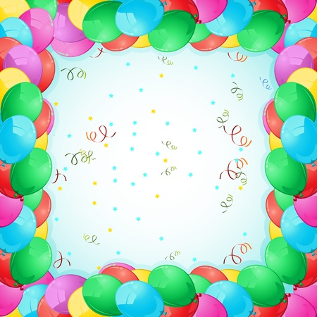 illustration of birthday card with colorful balloon frame