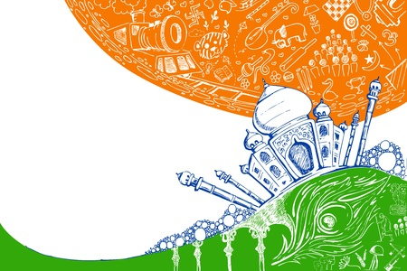 illustration of Taj Mahal on tricolor doodle background