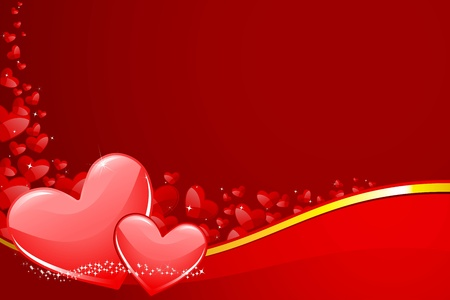 illustration of pair of heart on love background