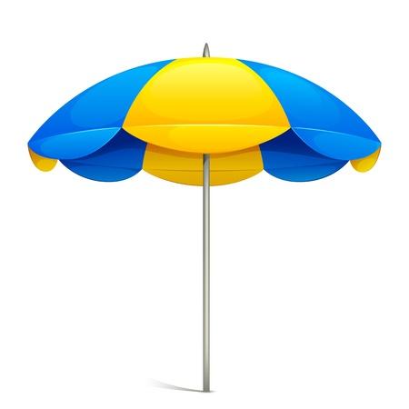 illustration of colorful beach umbrella on white background