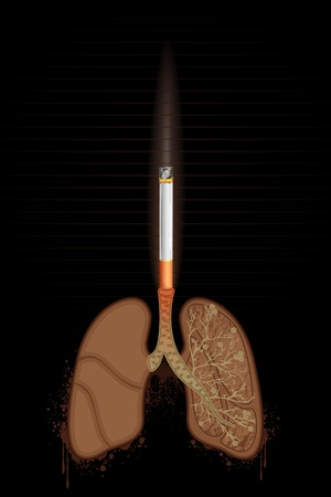 illustration of cigarette burning human lungs on abstract background