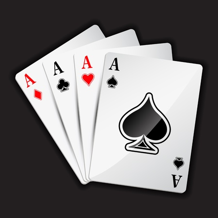 illustration of set of four aces playing card on black background