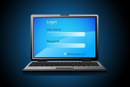 illustration of login page on notebook screen