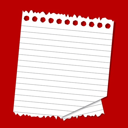 illustration of lined paper on plain red backgroundのイラスト素材