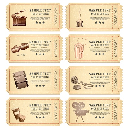 illustration of set of vintage movie ticket with different film related object