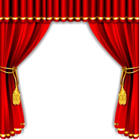 illustration of silk stage curtain with white backdrop