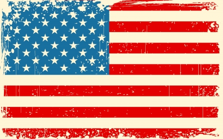 illustration of American Flag with grungy border in retro color
