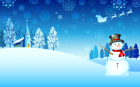 illustration of snowman in christmas night with santa flying in sledge