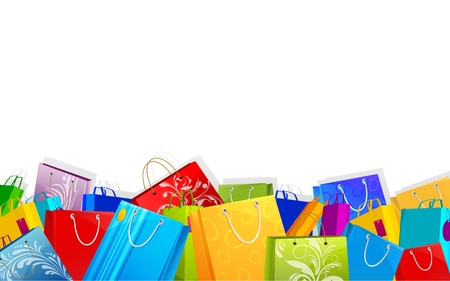 illustration of different shopping bag on sale background