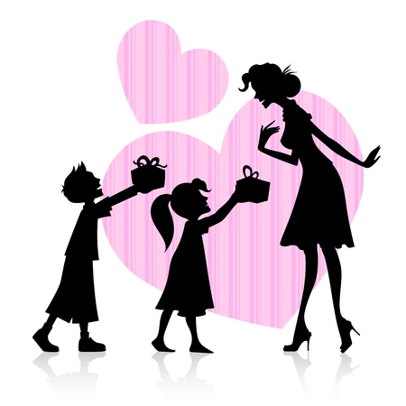 illustration of kids giving gift to mother on Mother s Day