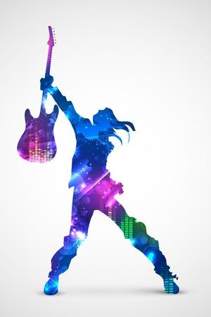 illustration of rock star with guitarfor musical design