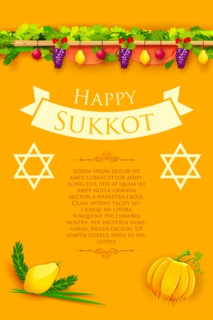 illustration of fruits hanging for Jewish festival Happy Sukkot