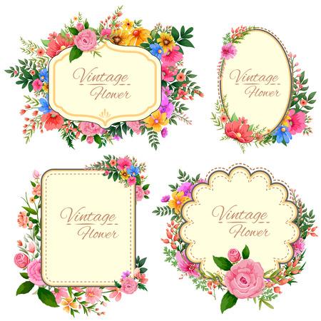Illustration pour illustration of watercolor Vintage floral frame - image libre de droit