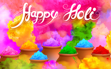 illustration of colorful gulaal (powder color) for Happy Holi