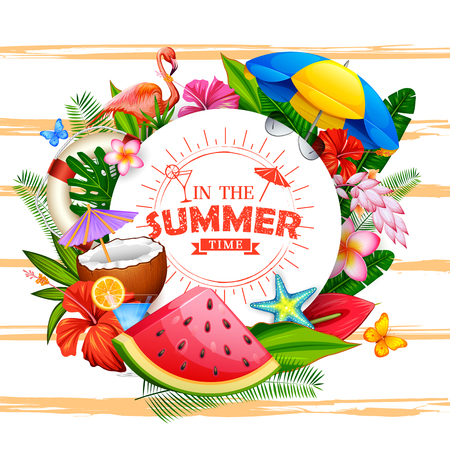 In the summer time poster wallpaper for fun party invitation