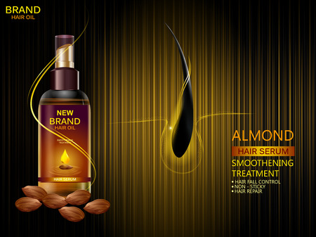 Illustration for easy to edit vector illustration of Advertisement promotion banner for almond oil hair serum for smoothening and strong hair - Royalty Free Image