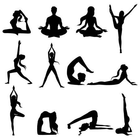 Illustration pour Woman doing asana for International Yoga Day on 21st June - image libre de droit