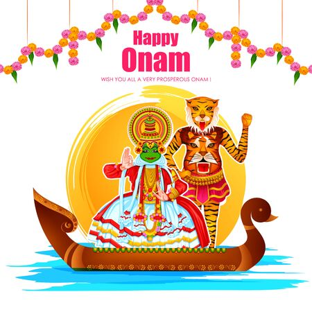 Illustration for Happy Onam festival greetings to mark the annual Hindu festival of Kerala, India - Royalty Free Image