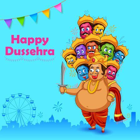 Illustration for illustration of Ravana with ten heads for Navratri festival of India poster for Dussehra - Royalty Free Image