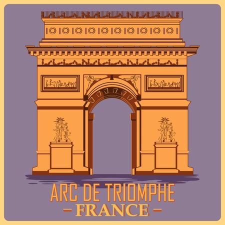 Vintage poster of Arc De Triomphe in Paris, famous monument of France. Vector illustration