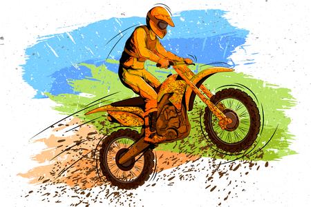 Illustration pour Concept of sportsman doing Motorcross. Vector illustration - image libre de droit