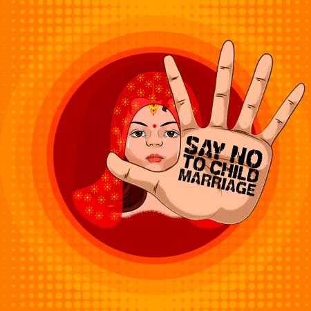 Illustration pour Social Awareness concept poster for Say No to Child Marriage - image libre de droit