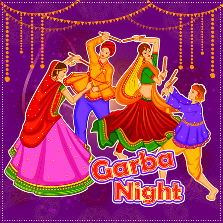 Garba Dance On Poster Banner Design For Dandiya Night Royalty Free Vector Graphics
