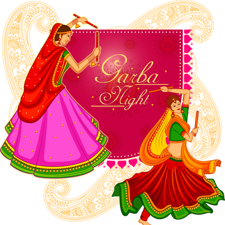 Vector Of Garba Dance On Poster Banner Id 87567822 Royalty Free Image Stocklib