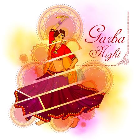 Vector Of Garba Dance On Poster Banner Id 87567826 Royalty Free Image Stocklib