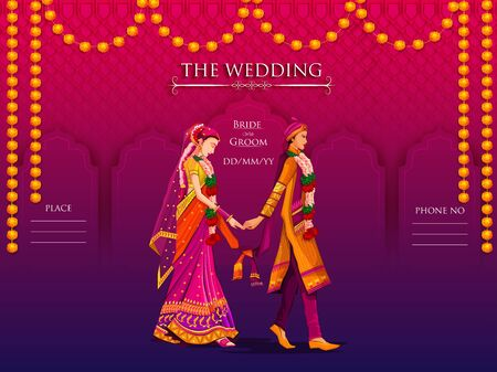 Illustration pour Indian Bride and Groom in ethnic dress Lengha and Serwani for wedding Day. Vector illustration - image libre de droit