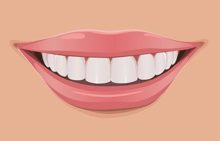 Ilustración de Woman smile, teeth are very white and clean - Imagen libre de derechos