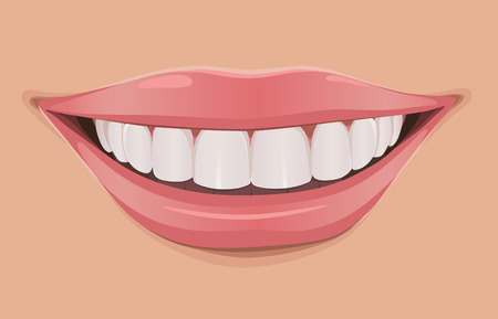 Illustration pour Woman smile, teeth are very white and clean - image libre de droit