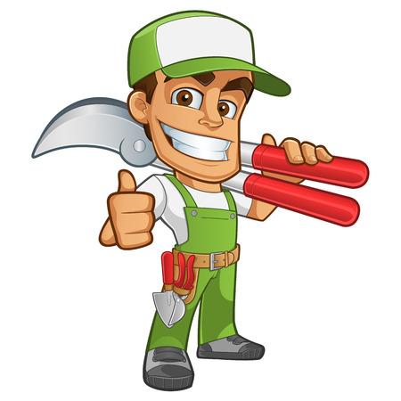 Illustration pour Sympathetic gardener wearing work clothes, he has in his hand a secateurs - image libre de droit