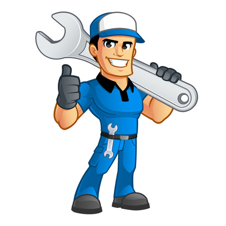 Illustration for Sympathetic car mechanic, he has a spanner in his belt - Royalty Free Image