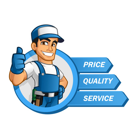 Illustration for Handyman wearing work clothes and a belt, with tool - Royalty Free Image