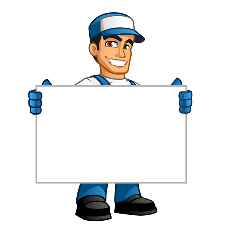 Photo for Handyman, he has a blank billboard where you can put your text - Royalty Free Image