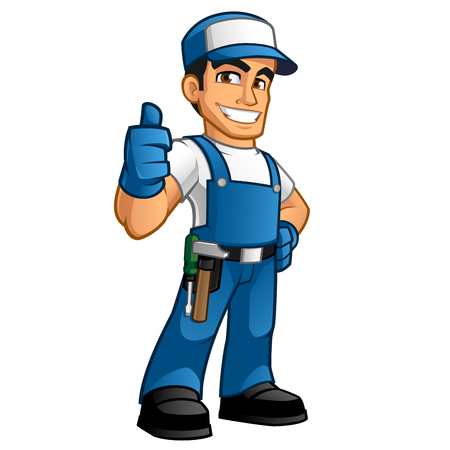 Illustration for handyman wearing work clothes and a belt with tools - Royalty Free Image