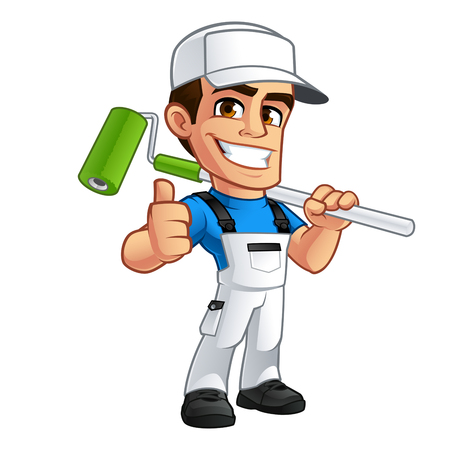 Illustration for Vector illustration of a professional painter, he is dressed in working clothes - Royalty Free Image