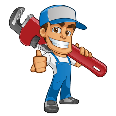 Illustration for Friendly plumber, he is dressed in work clothes and carrying a tool - Royalty Free Image