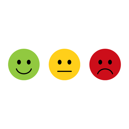 Ilustración de Smiley emoticons icon positive, neutral and negative, flat design - Imagen libre de derechos